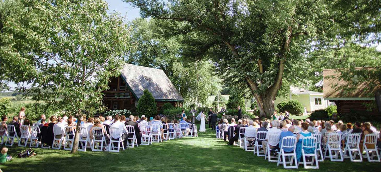 Lawn garden wedding ceremony at Justin Trails Resort, Sparta Wisconsin