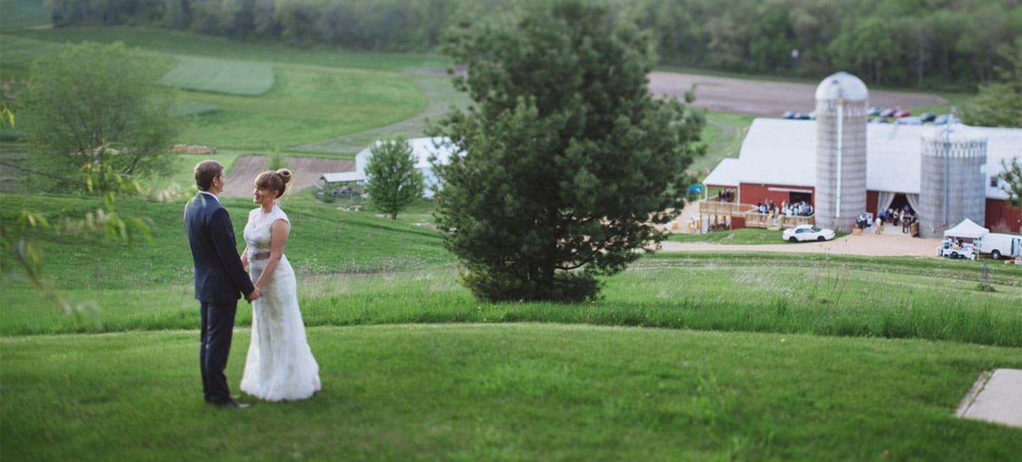 Bride and Groom at a Wisconsin Barn Wedding