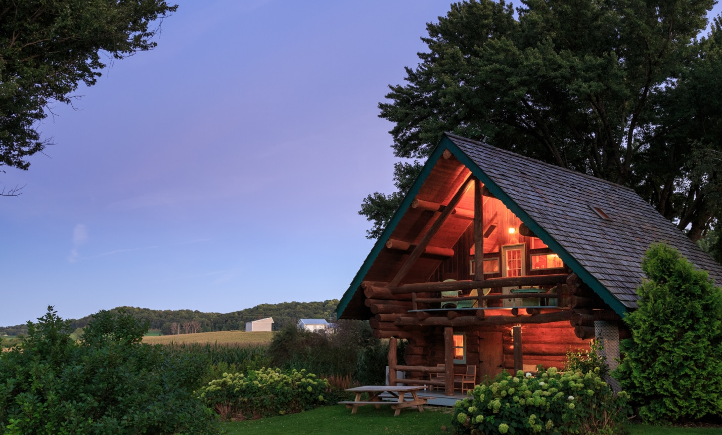 The spacious grounds of our Wisconsin Bed and Breakfast offers cabins in Wisconsin that make for the perfect romantic getaway.