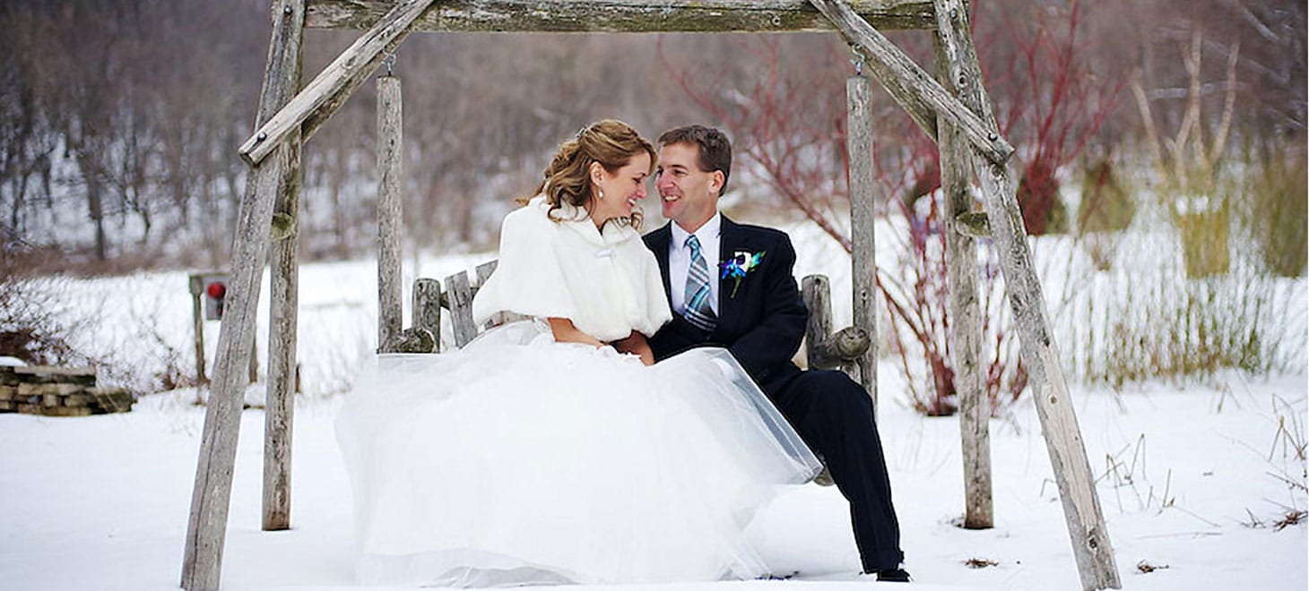 Bride & groom Winter Elopement in Sparta, Wisconsin, Justin Trails Resort
