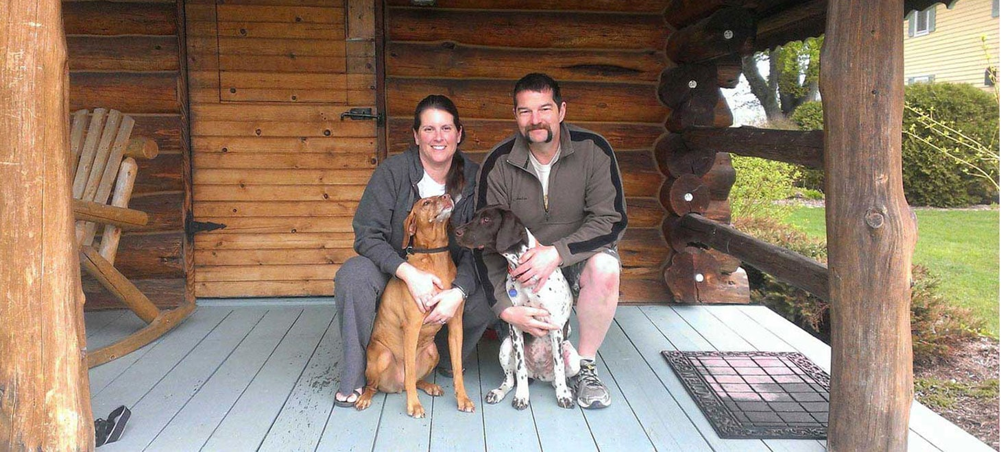 Couple with their Pets Friendly Cabins in Wisconsin, Justin Trails Resort, Sparta