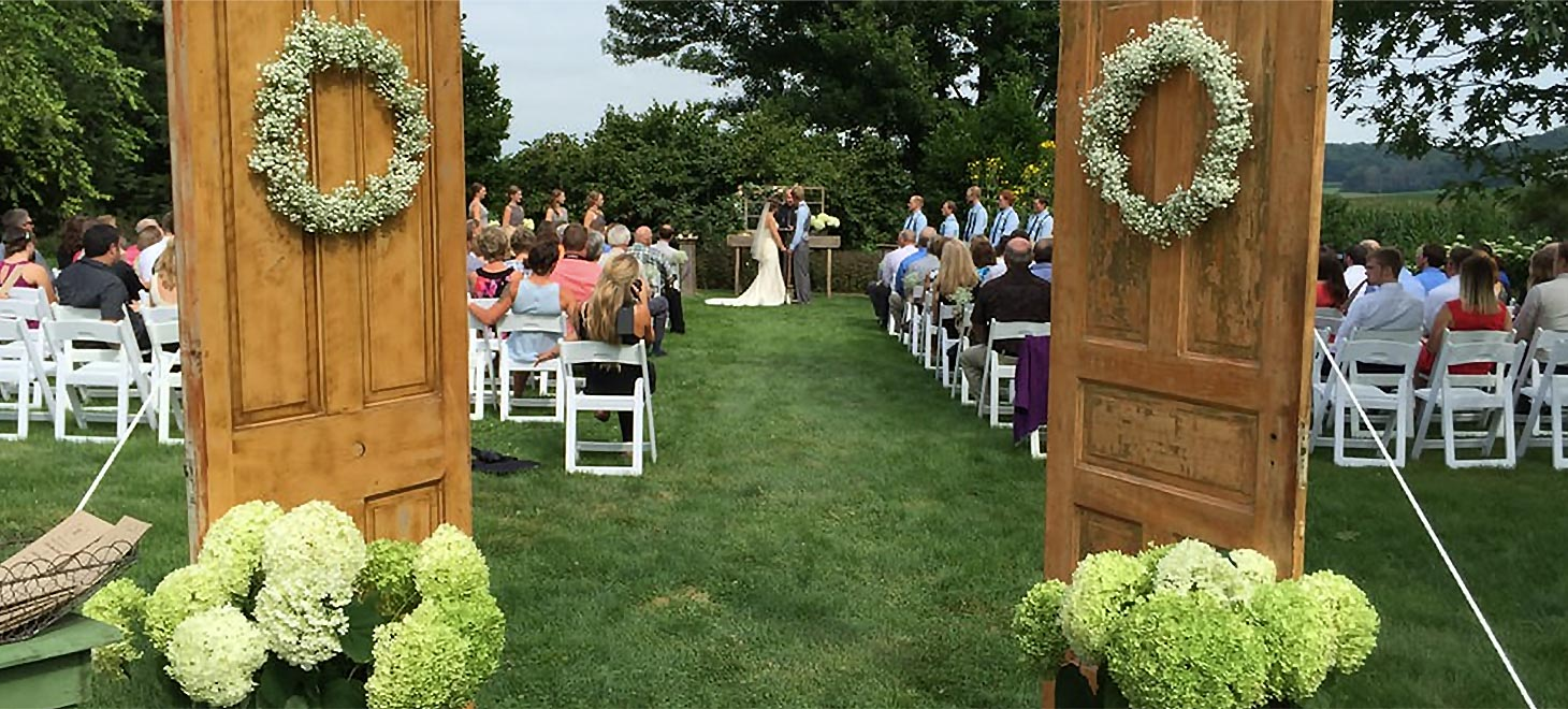 A rustic outdoor lawn garden wedding in WI, Sparta, Justin Trails Resort