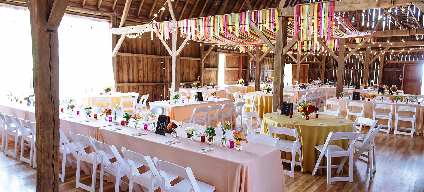 Decorated tables ready for guests, Wisconsin Bed and Breakfast Elegant Barn Weddings, Sparta, Justin Trails Resort