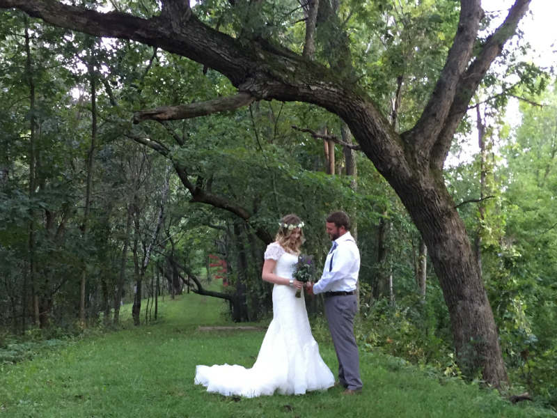 Newlyweds after a romantic wedding in Sparta, Wisconsin, Justin Trails Resort