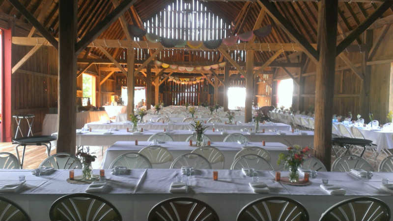 Tables decorated for guests, Trails Resort Elegant Barn, Sparta, WI