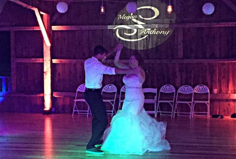 Real Wisconsin Barn Wedding first dance, Justin Trails Resort, Sparta, WI