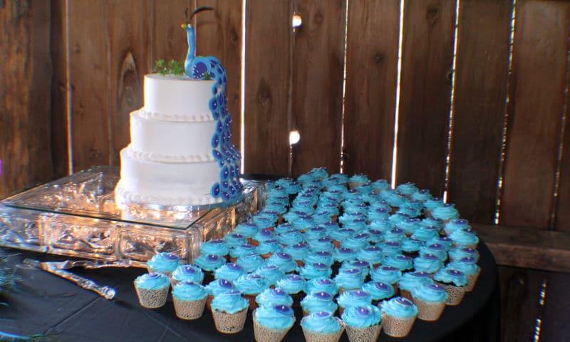 real Wisconsin Elegant Barn wedding peacock cake, Justin Trails Resort, Sparta, WI