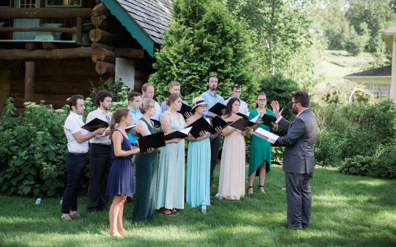 choir performing, Justin Trails Resort, Sparta Wisconsin wedding venue