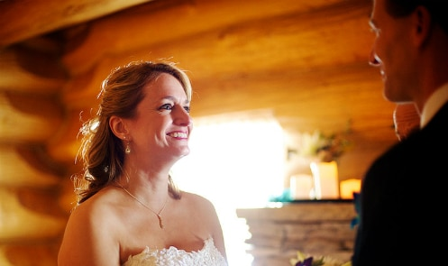 Elopement in Paul Bunyan log cabin, Justin Trails Resort, Sparta, WI