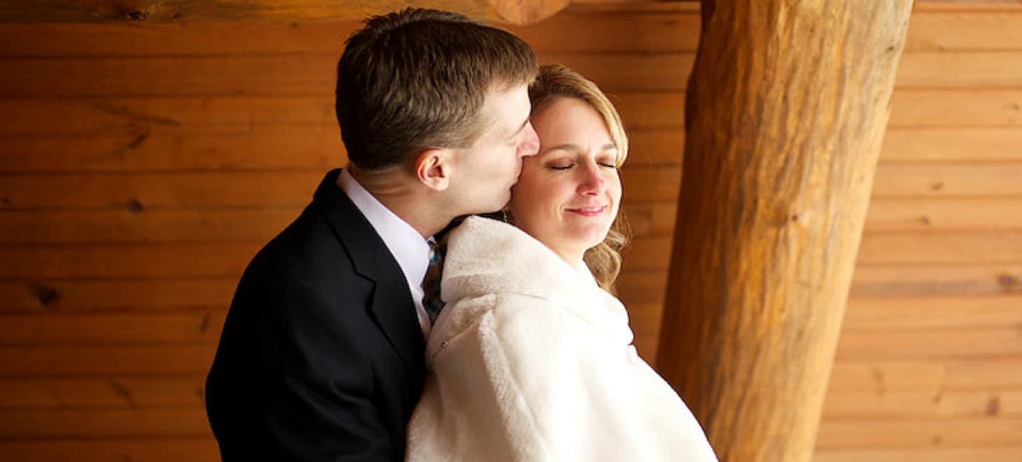 Groom & bride Peaceful Elopement in Wisconsin, Sparta, Justin Trails Resort