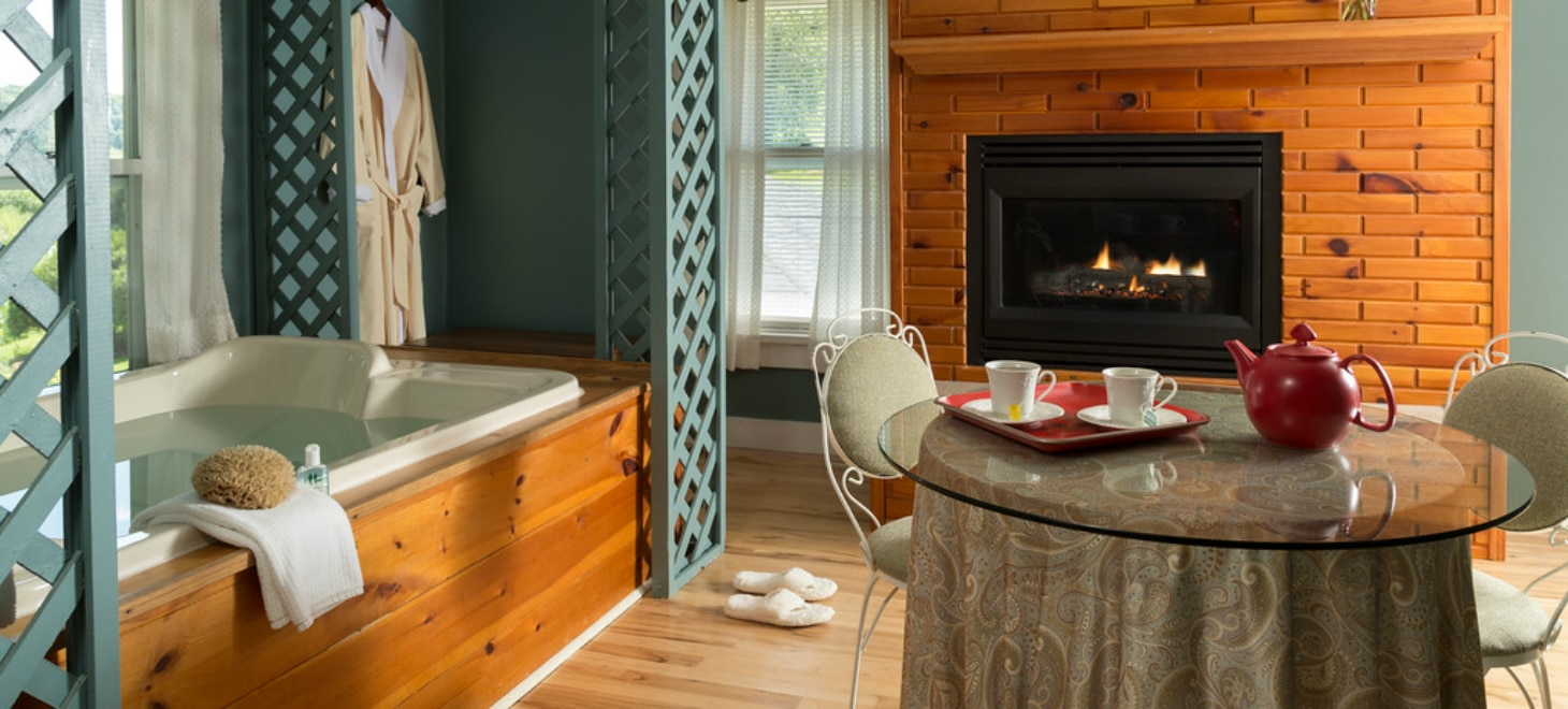 Crackling fireplace  in Wisconsin Log Cabin