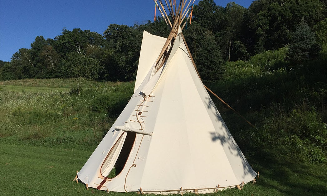 Authentic Tipi Exterior for Lodging in Wisconsin