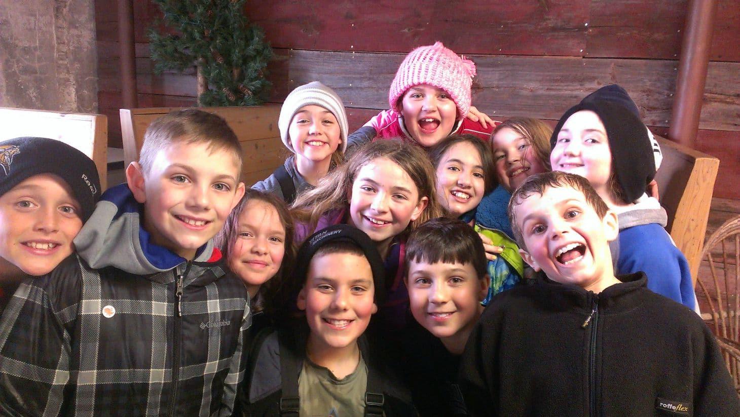 School children group for our Wisconsin snowshoeing, Justin Trails Resort, Sparta