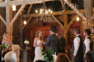 indoor barn wedding ceremony, Justin Trails Resort, Sparta, WI