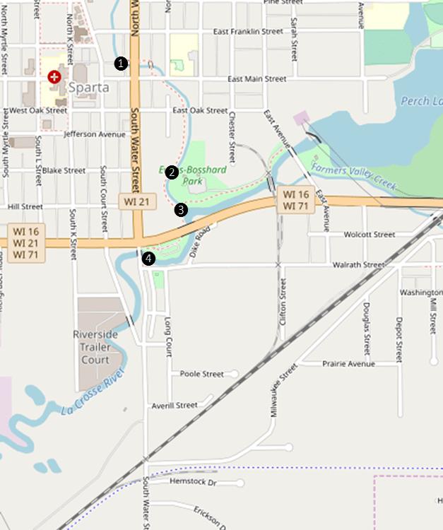 Map of Sparta Wisconsin Wooden Bridges