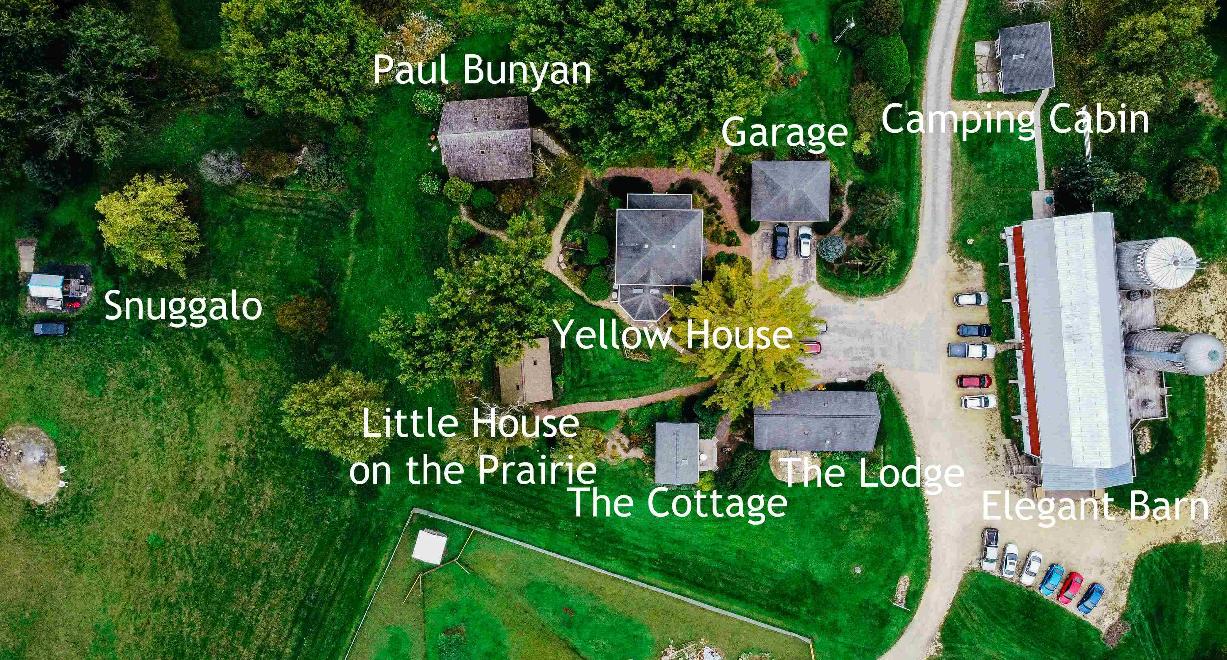 Buildings at Justin Trails Resort with labels