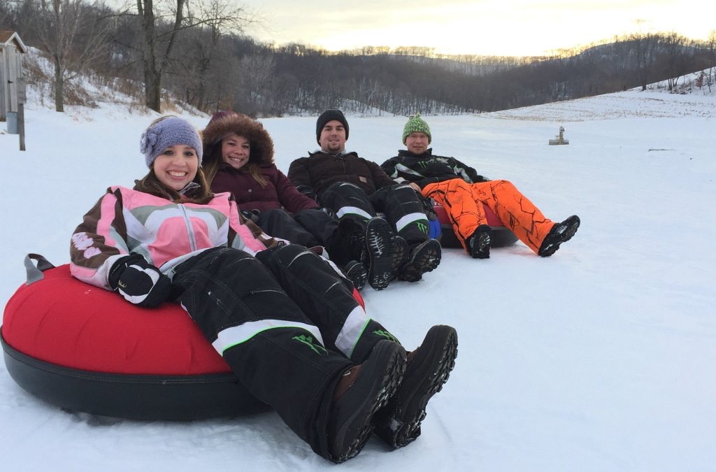 Our snow-tubing hills are a popular winter feature at our Wisconsin Bed and Breakfast.