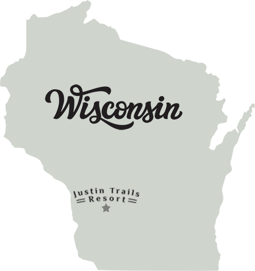 Map of Wisconsin showing the location of Justin Trails Resort